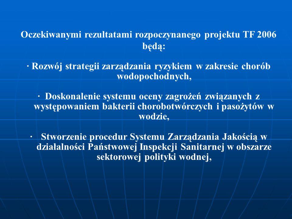 Oczekiwanymi rezultatami rozpoczynanego projektu TF 2006 będą: · Rozwój strategii zarządzania ryzykiem w zakresie chorób wodopochodnych, · Doskonaleni