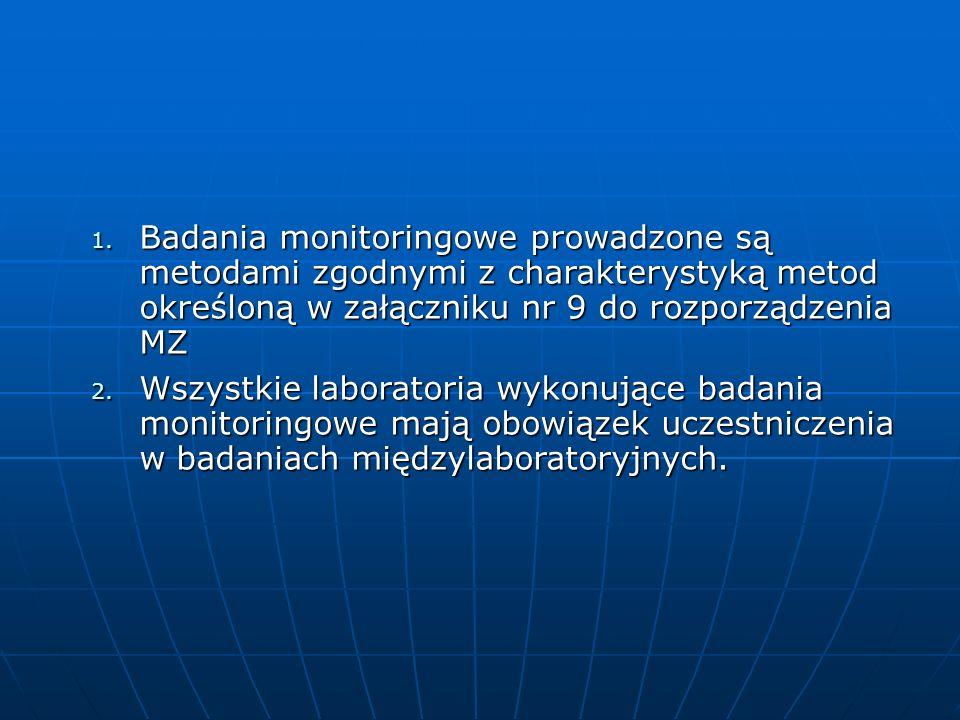 1. Badania monitoringowe prowadzone są metodami zgodnymi z charakterystyką metod określoną w załączniku nr 9 do rozporządzenia MZ 2. Wszystkie laborat