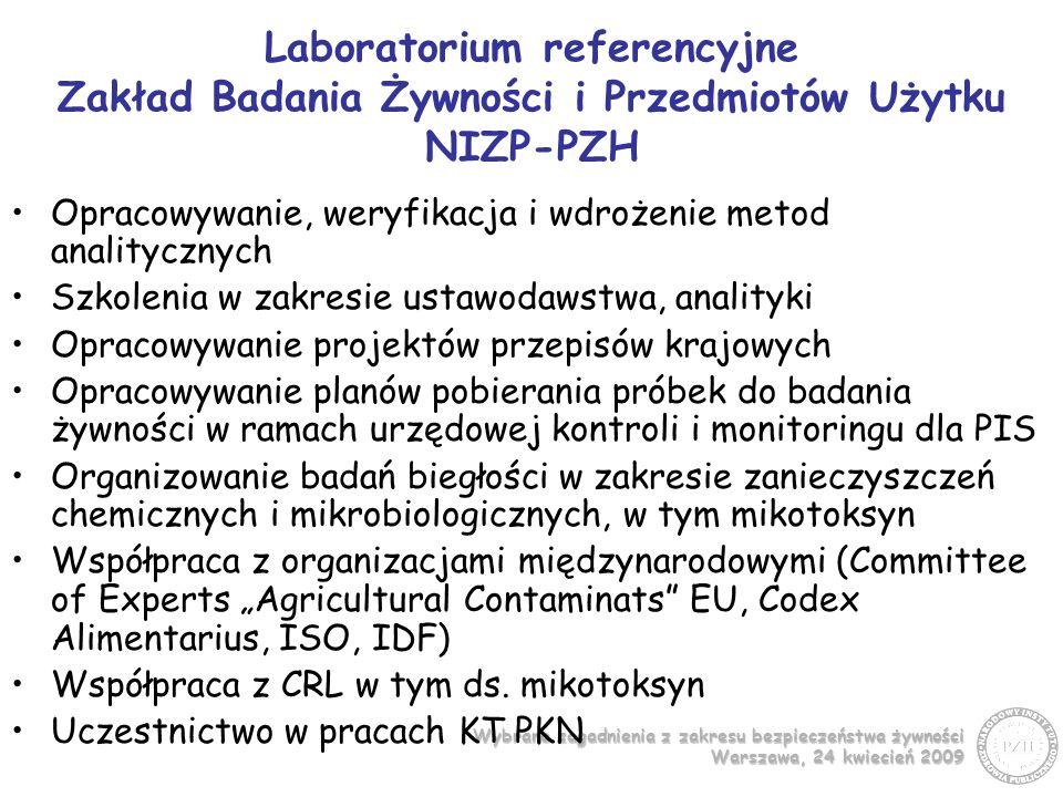 Wybrane zagadnienia z zakresu bezpieczeństwa żywności Warszawa, 24 kwiecień 2009 Program realizowany przez ZBŻiPU - 2007 Badania w kierunku zanieczyszczenia toksynami T-2 i HT-2 przetworów zbożowych - cel Opracowanie i zwalidowanie metody analitycznej do celów urzędowej kontroli określenie poziomów zanieczyszczenia toksynami T-2 i HT-2 w produktach zbożowych, ze szczególnym uwzględnieniem otrzymanych z owsa, jak również dla wstępnej oceny narażenia populacji