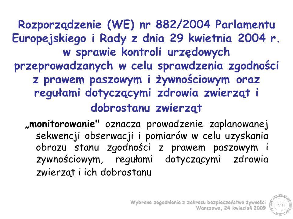 Wybrane zagadnienia z zakresu bezpieczeństwa żywności Warszawa, 24 kwiecień 2009 Program monitoringu realizowany jest przez Plany pobierania próbek do badania żywności w ramach urzędowej kontroli i monitoringu dla Państwowej Inspekcji Sanitarnej Opracowywane w NIZP-PZH od 2003 r.