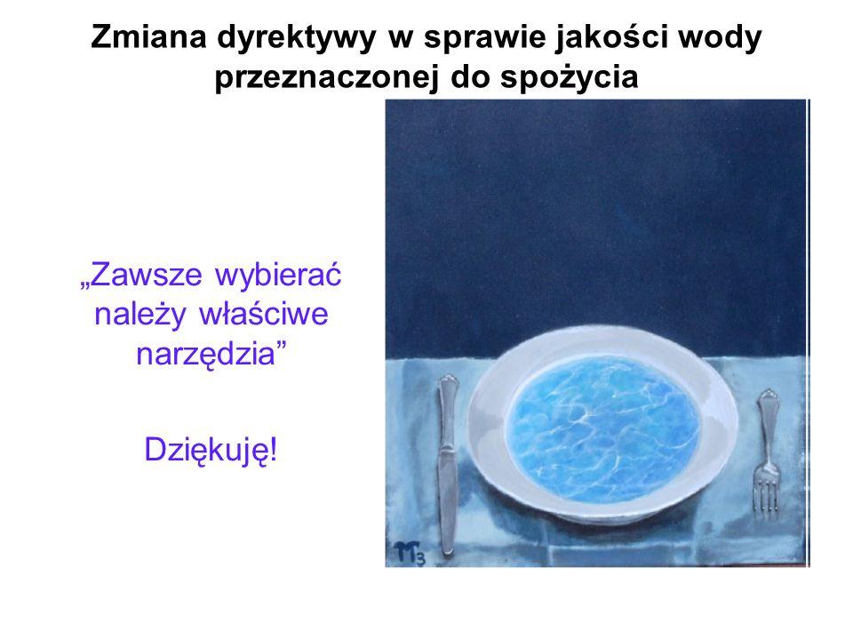 Zmiana dyrektywy w sprawie jakości wody przeznaczonej do spożycia Zawsze wybierać należy właściwe narzędzia Dziękuję!
