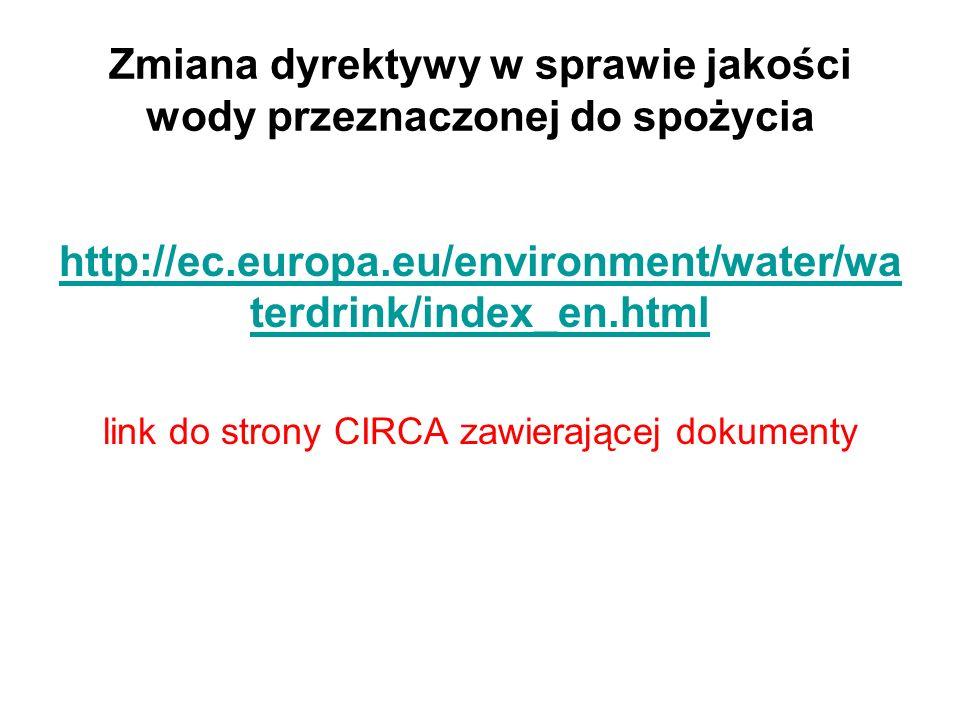 Zmiana dyrektywy w sprawie jakości wody przeznaczonej do spożycia Główne zagadnienia WSP (Water Safety Plans) Przegląd parametrów chem.