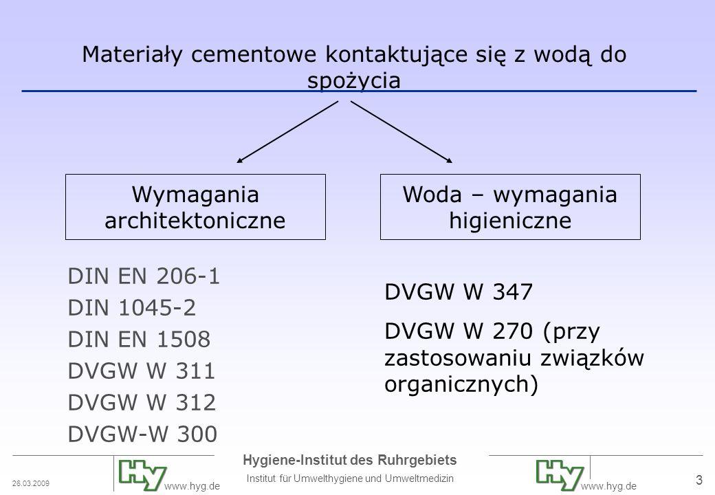 26.03.2009 Hygiene-Institut des Ruhrgebiets Institut für Umwelthygiene und Umweltmedizin www.hyg.de 4 Norma techniczna DVGW W 347 pierwsze wydanie październik 1999 wdrożenie norm europejskich dla cementu, kruszywa, dodatków, etc.