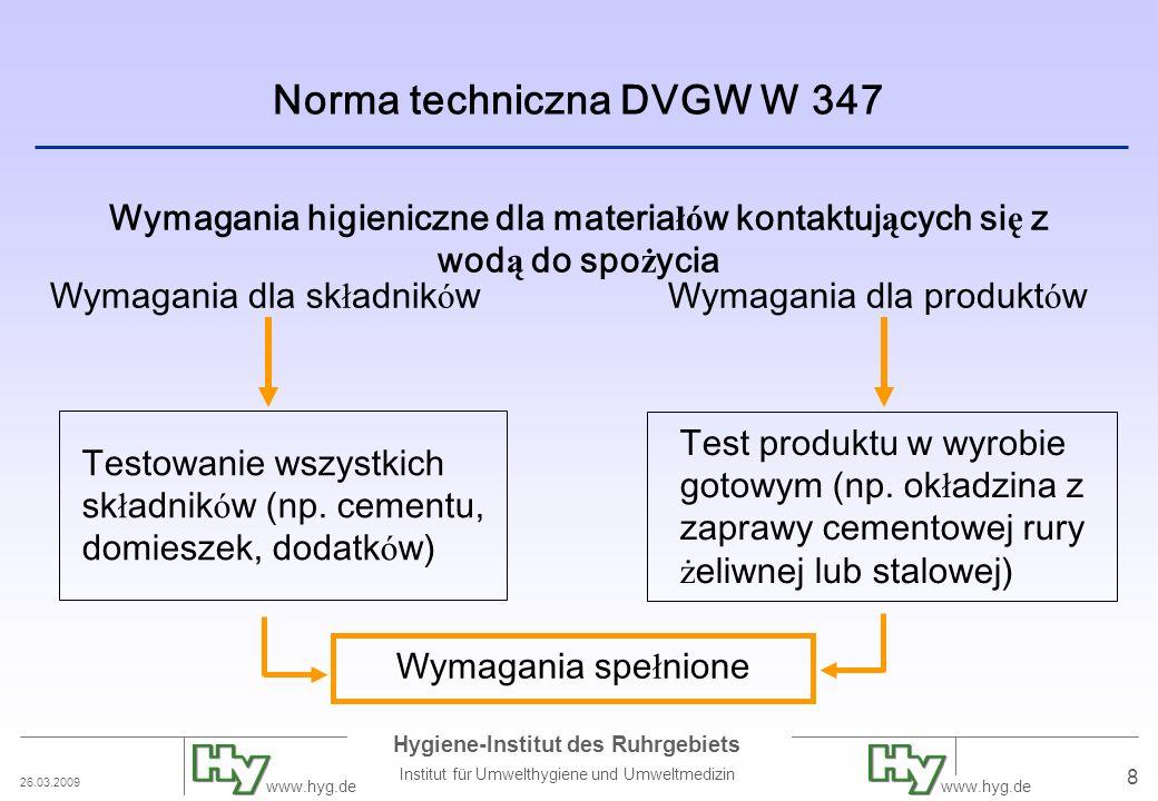 26.03.2009 Hygiene-Institut des Ruhrgebiets Institut für Umwelthygiene und Umweltmedizin www.hyg.de 8 Norma techniczna DVGW W 347 Wymagania higieniczn