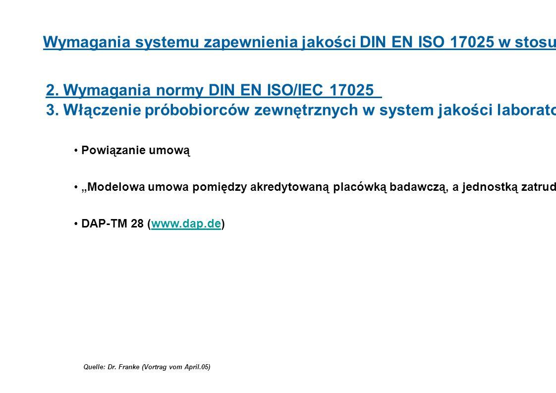 Quelle: Dr. Franke (Vortrag vom April.05) Wymagania systemu zapewnienia jakości DIN EN ISO 17025 w stosunku do próbobrania 2. Wymagania normy DIN EN I