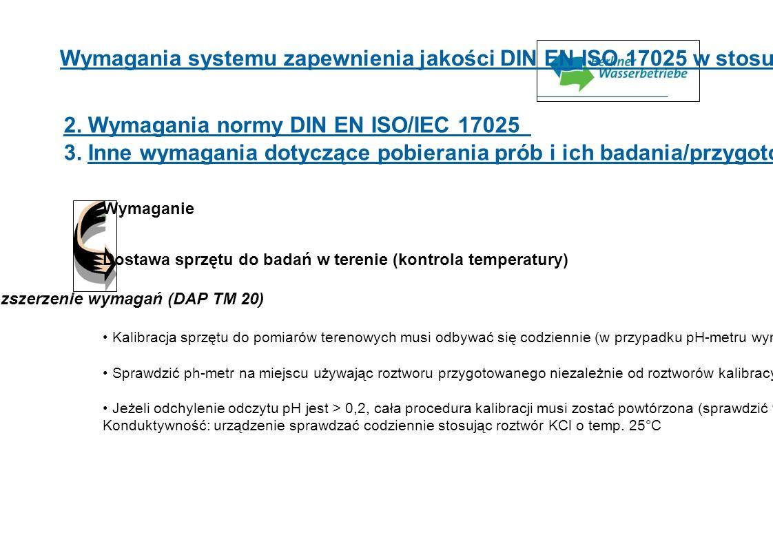 Wymagania systemu zapewnienia jakości DIN EN ISO 17025 w stosunku do próbobrania 2. Wymagania normy DIN EN ISO/IEC 17025 3. Inne wymagania dotyczące p
