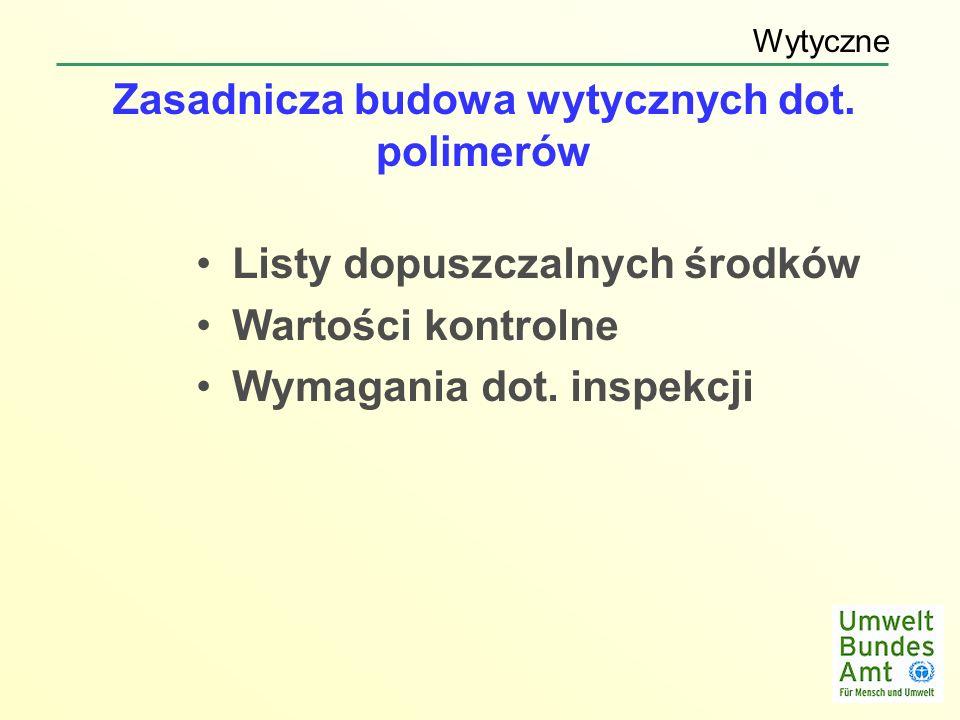 Zasadnicza budowa wytycznych dot. polimerów Listy dopuszczalnych środków Wartości kontrolne Wymagania dot. inspekcji Wytyczne