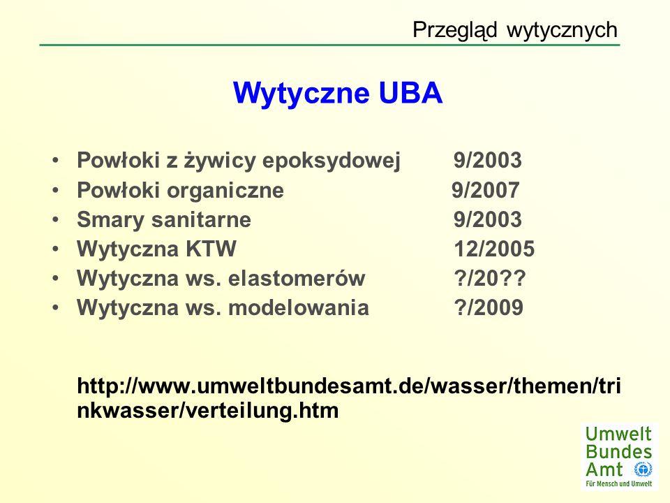 Wytyczne UBA Powłoki z żywicy epoksydowej 9/2003 Powłoki organiczne 9/2007 Smary sanitarne 9/2003 Wytyczna KTW 12/2005 Wytyczna ws. elastomerów?/20??