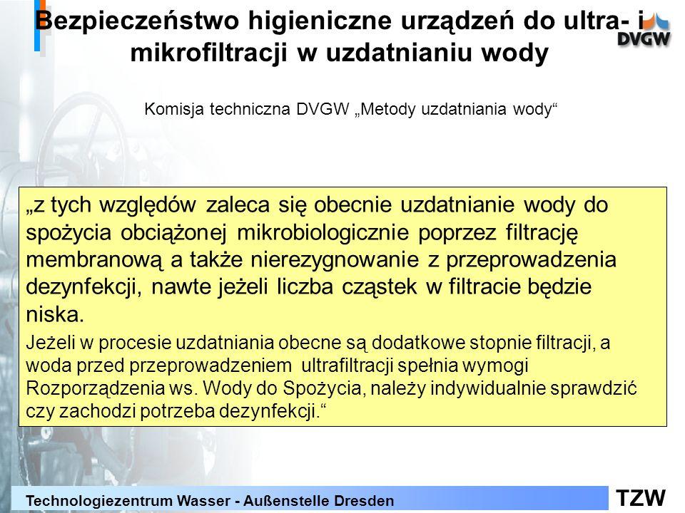 TZW Technologiezentrum Wasser - Außenstelle Dresden Bezpieczeństwo higieniczne urządzeń do ultra- i mikrofiltracji w uzdatnianiu wody z tych względów