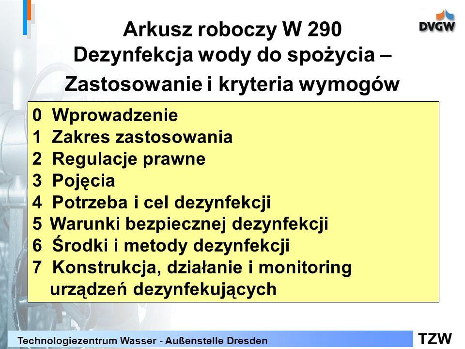 TZW Technologiezentrum Wasser - Außenstelle Dresden Arkusz roboczy W 290 Dezynfekcja wody do spożycia – Zastosowanie i kryteria wymogów 0 Wprowadzenie