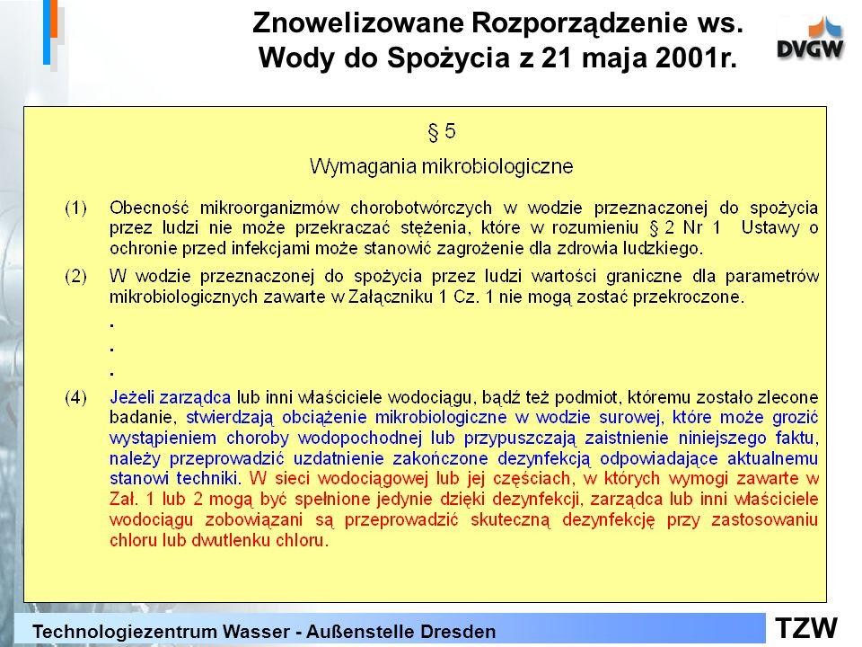 TZW Technologiezentrum Wasser - Außenstelle Dresden Znowelizowane Rozporządzenie ws. Wody do Spożycia z 21 maja 2001r.