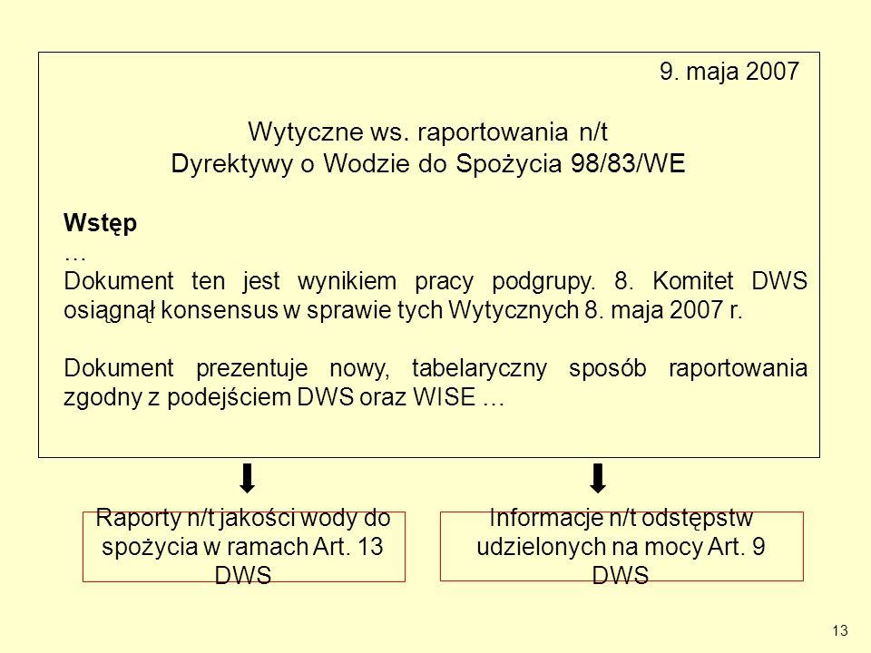13 9. maja 2007 Wytyczne ws. raportowania n/t Dyrektywy o Wodzie do Spożycia 98/83/WE Wstęp … Dokument ten jest wynikiem pracy podgrupy. 8. Komitet DW