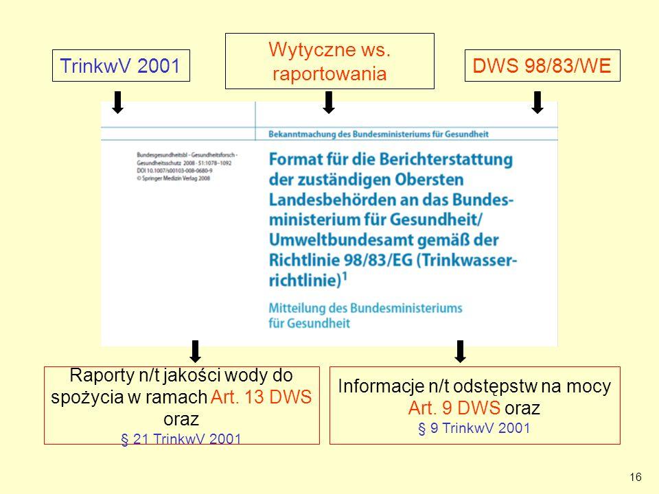 16 BMG note Bundesgesundheitsblatt Wytyczne ws. raportowania TrinkwV 2001 Informacje n/t odstępstw na mocy Art. 9 DWS oraz § 9 TrinkwV 2001 Raporty n/