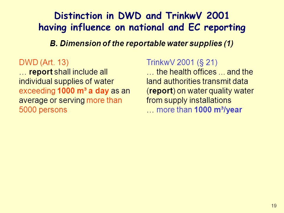 19 Distinction in DWD and TrinkwV 2001 having influence on national and EC reporting DWD (Art. 13) … report shall include all individual supplies of w