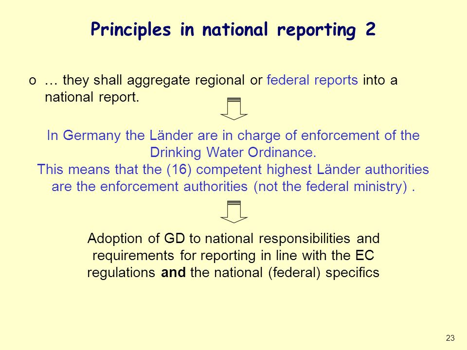 23 Principles in national reporting 2 o … they shall aggregate regional or federal reports into a national report. In Germany the Länder are in charge