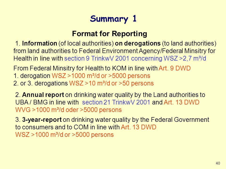 40 Summary 1 1. Information (of local authorities) on derogations (to land authorities) from land authorities to Federal Environment Agency/Federal Mi