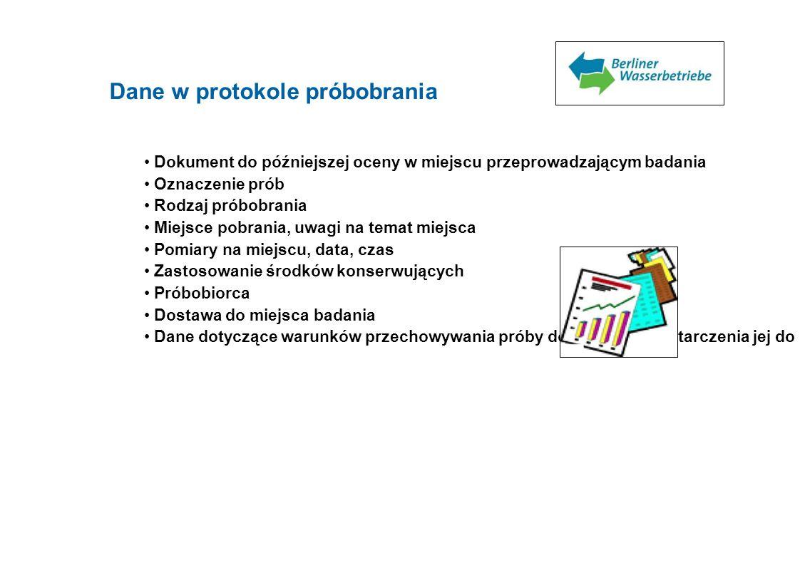 Dane w protokole próbobrania Dokument do późniejszej oceny w miejscu przeprowadzającym badania Oznaczenie prób Rodzaj próbobrania Miejsce pobrania, uw