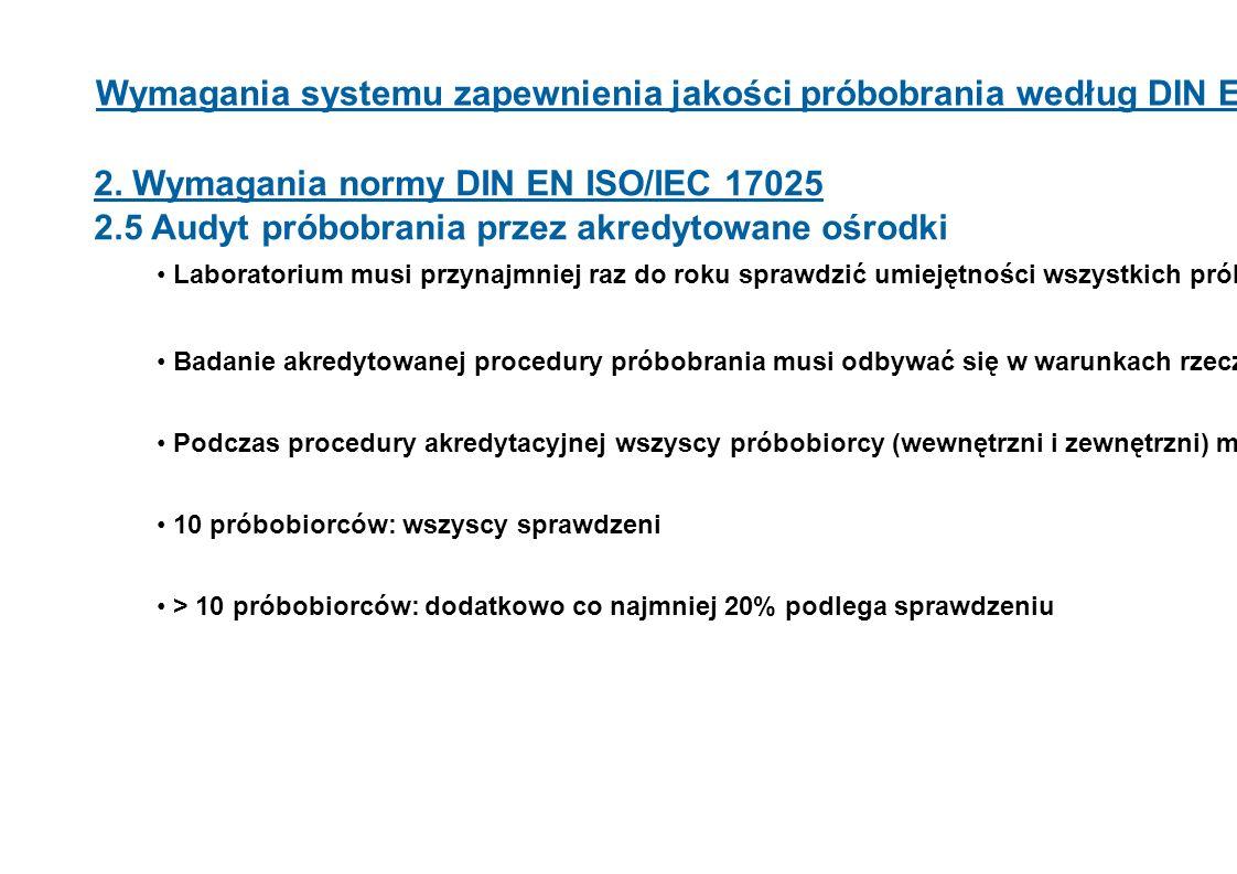 Wymagania systemu zapewnienia jakości próbobrania według DIN EN ISO 17025 2. Wymagania normy DIN EN ISO/IEC 17025 2.5 Audyt próbobrania przez akredyto