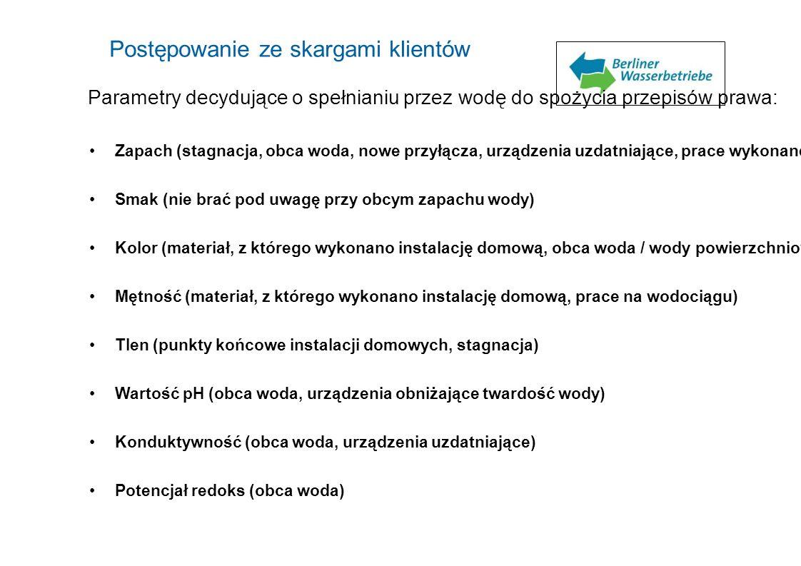 Parametry decydujące o spełnianiu przez wodę do spożycia przepisów prawa: Zapach (stagnacja, obca woda, nowe przyłącza, urządzenia uzdatniające, prace