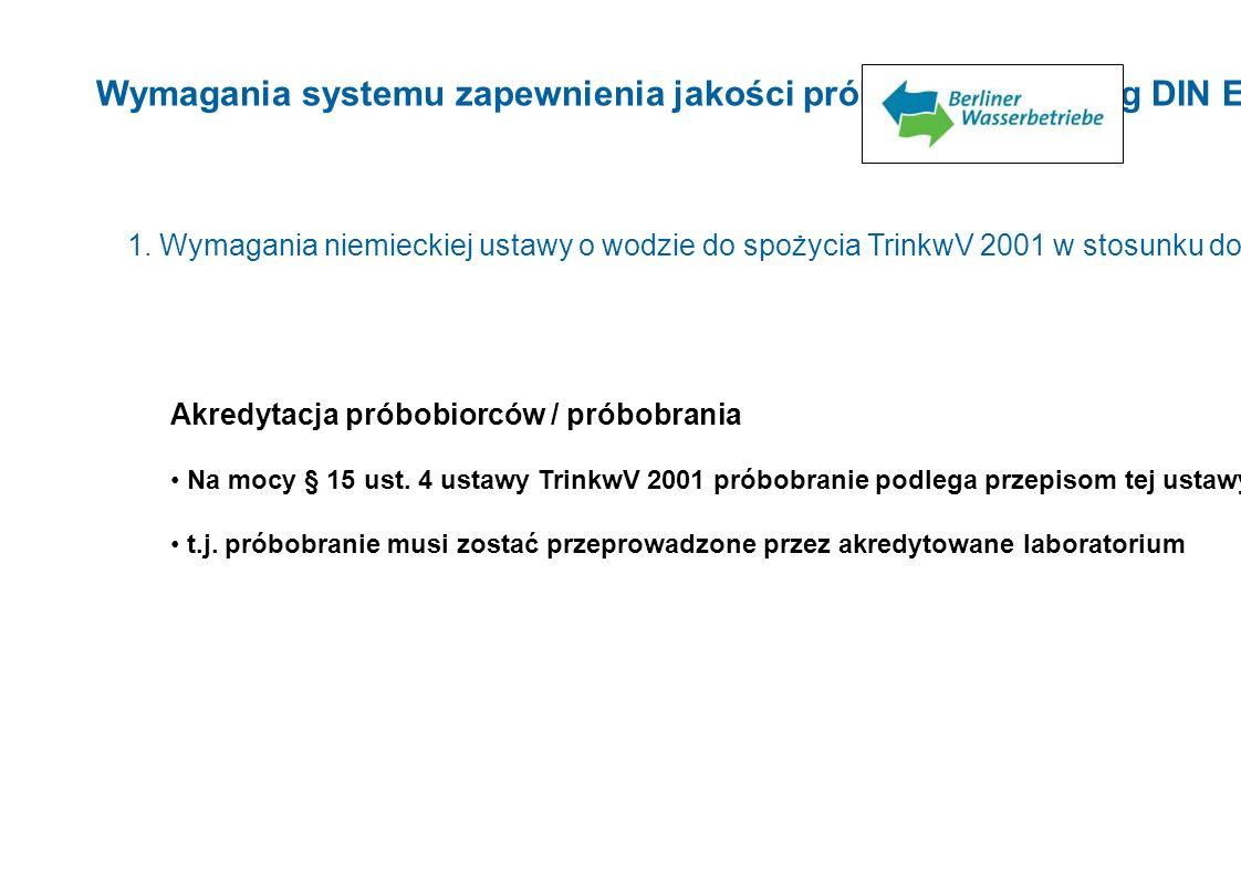 Wymagania systemu zapewnienia jakości próbobrania według DIN EN ISO 17025 1. Wymagania niemieckiej ustawy o wodzie do spożycia TrinkwV 2001 w stosunku