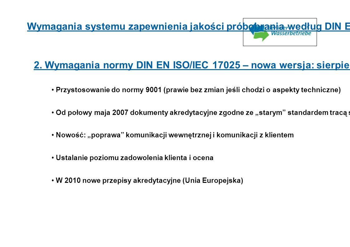 2. Wymagania normy DIN EN ISO/IEC 17025 – nowa wersja: sierpień 2005 r. Przystosowanie do normy 9001 (prawie bez zmian jeśli chodzi o aspekty technicz