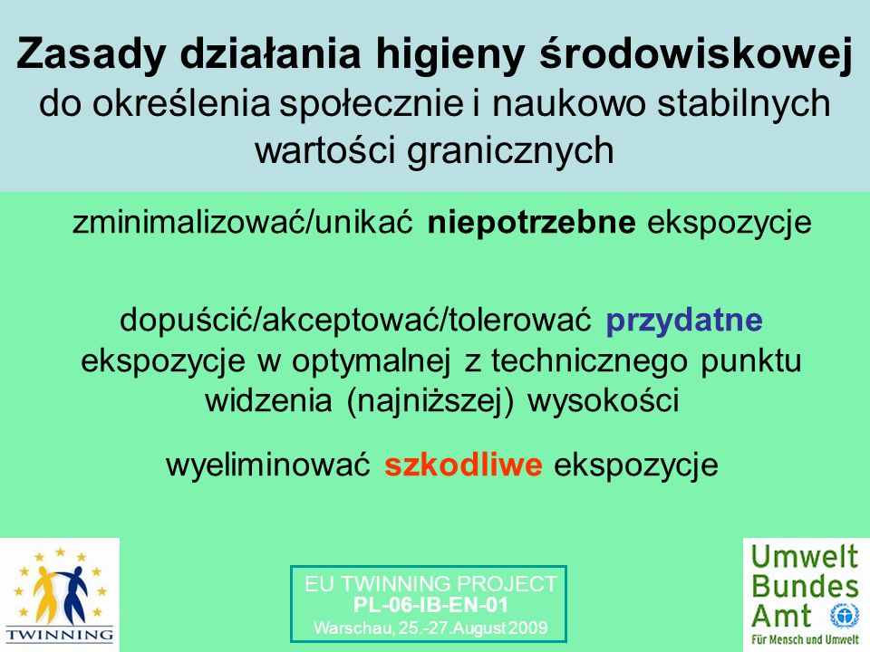 Zasady działania higieny środowiskowej do określenia społecznie i naukowo stabilnych wartości granicznych zminimalizować/unikać niepotrzebne ekspozycje dopuścić/akceptować/tolerować przydatne ekspozycje w optymalnej z technicznego punktu widzenia (najniższej) wysokości wyeliminować szkodliwe ekspozycje EU TWINNING PROJECT PL-06-IB-EN-01 Warschau, 25.-27.August 2009