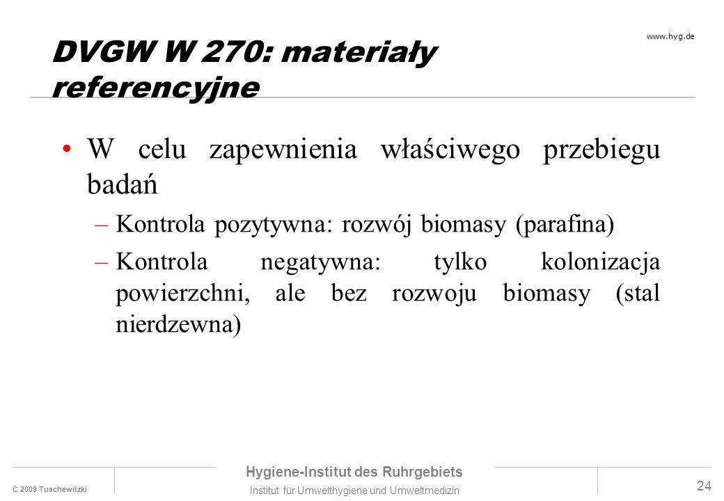 C 2009 Tuschewitzki Hygiene-Institut des Ruhrgebiets Institut für Umwelthygiene und Umweltmedizin www.hyg.de 24 DVGW W 270: materiały referencyjne W celu zapewnienia właściwego przebiegu badań –Kontrola pozytywna: rozwój biomasy (parafina) –Kontrola negatywna: tylko kolonizacja powierzchni, ale bez rozwoju biomasy (stal nierdzewna)