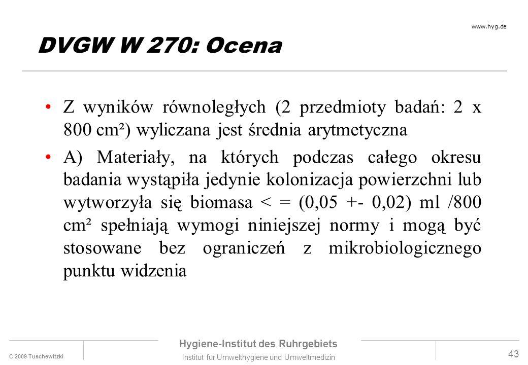 C 2009 Tuschewitzki Hygiene-Institut des Ruhrgebiets Institut für Umwelthygiene und Umweltmedizin www.hyg.de 43 DVGW W 270: Ocena Z wyników równoległych (2 przedmioty badań: 2 x 800 cm²) wyliczana jest średnia arytmetyczna A) Materiały, na których podczas całego okresu badania wystąpiła jedynie kolonizacja powierzchni lub wytworzyła się biomasa < = (0,05 +- 0,02) ml /800 cm² spełniają wymogi niniejszej normy i mogą być stosowane bez ograniczeń z mikrobiologicznego punktu widzenia