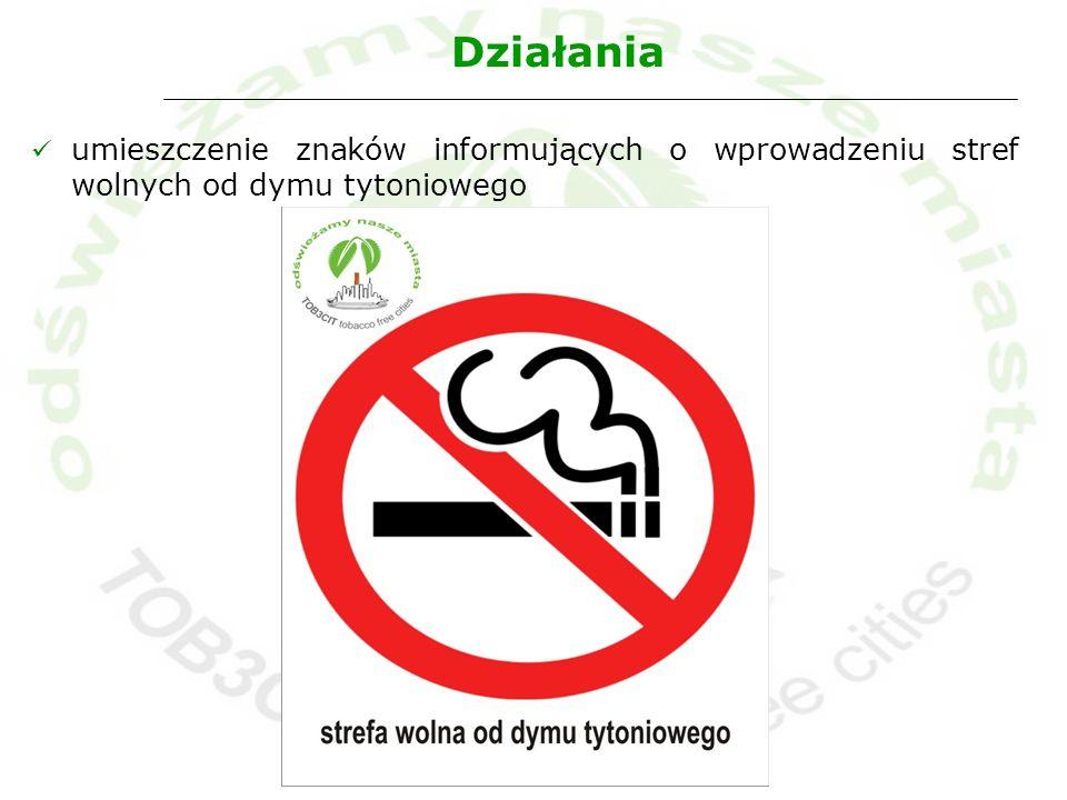 Działania umieszczenie znaków informujących o wprowadzeniu stref wolnych od dymu tytoniowego