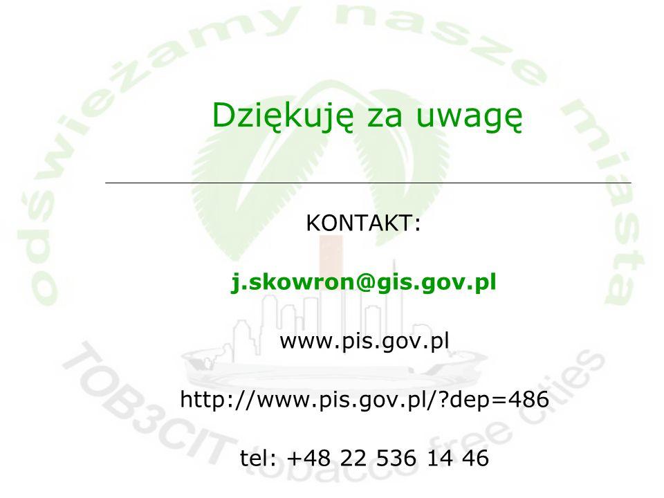 Dziękuję za uwagę KONTAKT: j.skowron@gis.gov.pl www.pis.gov.pl http://www.pis.gov.pl/?dep=486 tel: +48 22 536 14 46