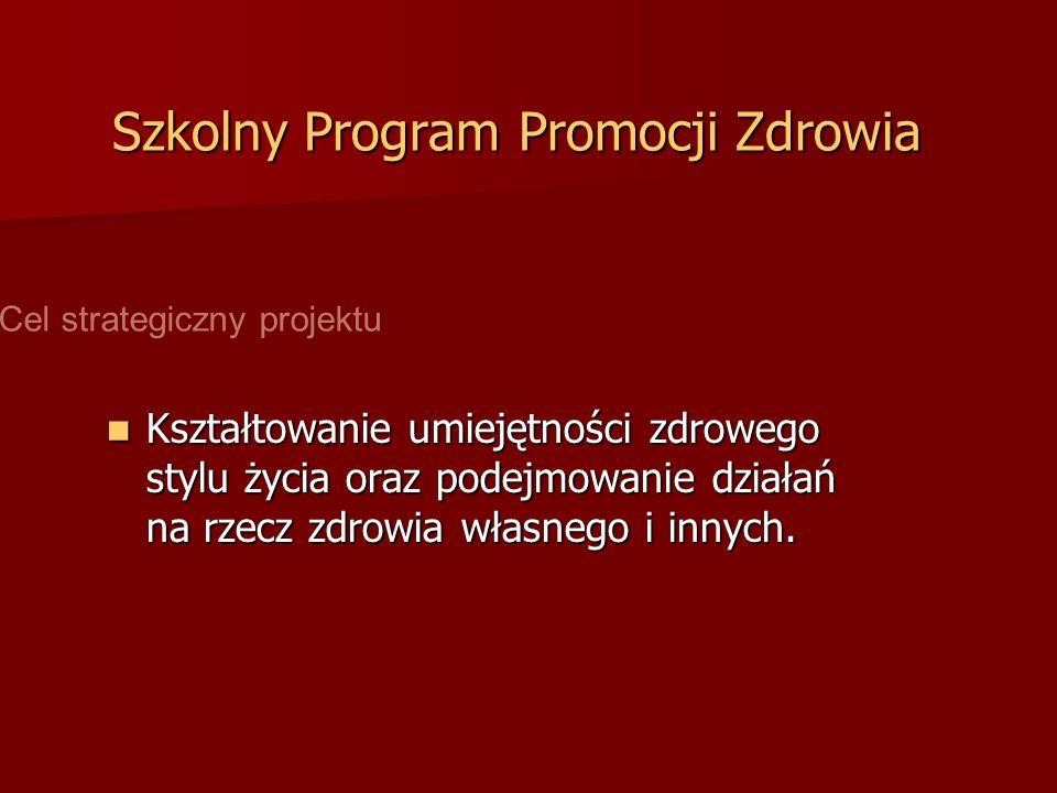 Szkolny Program Promocji Zdrowia Kształtowanie umiejętności zdrowego stylu życia oraz podejmowanie działań na rzecz zdrowia własnego i innych. Kształt