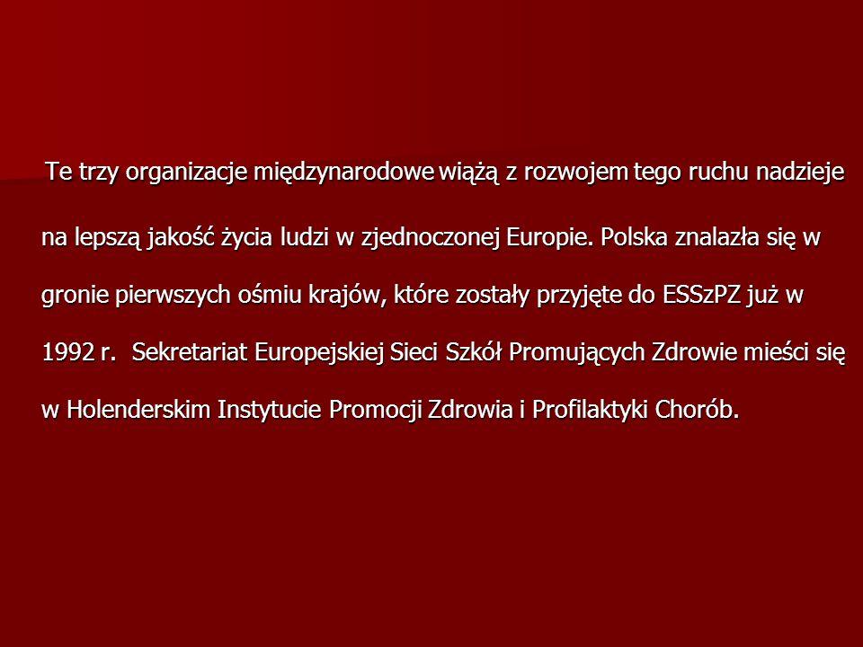 Te trzy organizacje międzynarodowe wiążą z rozwojem tego ruchu nadzieje na lepszą jakość życia ludzi w zjednoczonej Europie. Polska znalazła się w gro