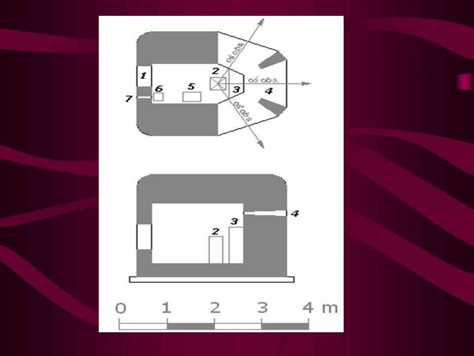 Konstrukcja: - izba obserwacyjna na planie prostokąta o dwóch ściętych wierzchołkach o pow.