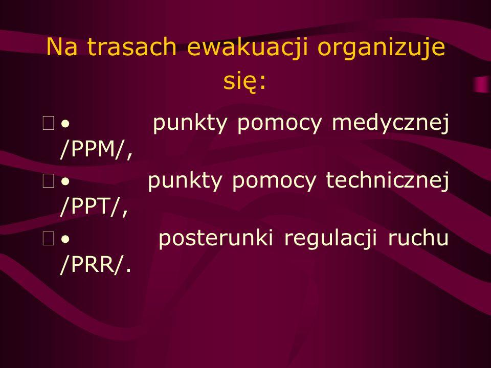 W rejonach objętych ewakuacją organizuje się: punkty ewidencyjno- informacyjne /PEI/, punkty zbiórki /PZb/, punkty załadowcze /PZ/, punkty pomocy medycznej /PPM/.