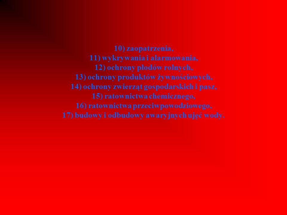 10) zaopatrzenia, 11) wykrywania i alarmowania, 12) ochrony płodów rolnych, 13) ochrony produktów żywnościowych, 14) ochrony zwierząt gospodarskich i