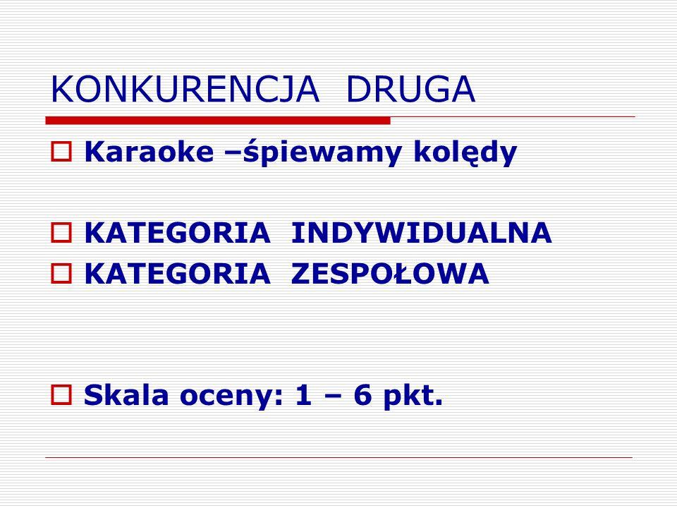 KONKURENCJA DRUGA Karaoke –śpiewamy kolędy KATEGORIA INDYWIDUALNA KATEGORIA ZESPOŁOWA Skala oceny: 1 – 6 pkt.