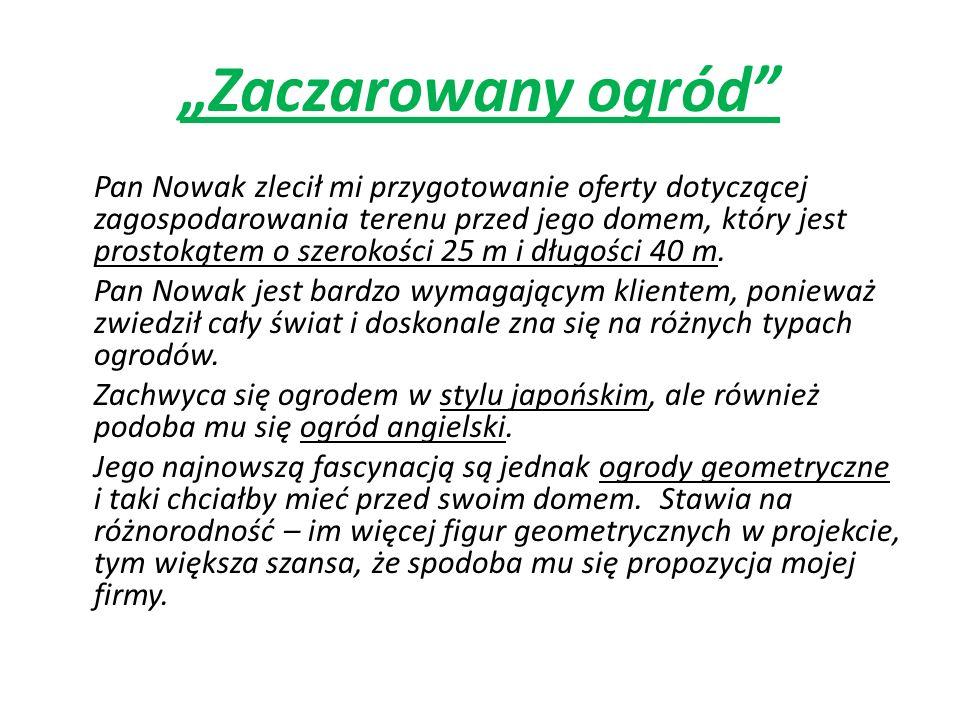 Zaczarowany ogród Pan Nowak zlecił mi przygotowanie oferty dotyczącej zagospodarowania terenu przed jego domem, który jest prostokątem o szerokości 25