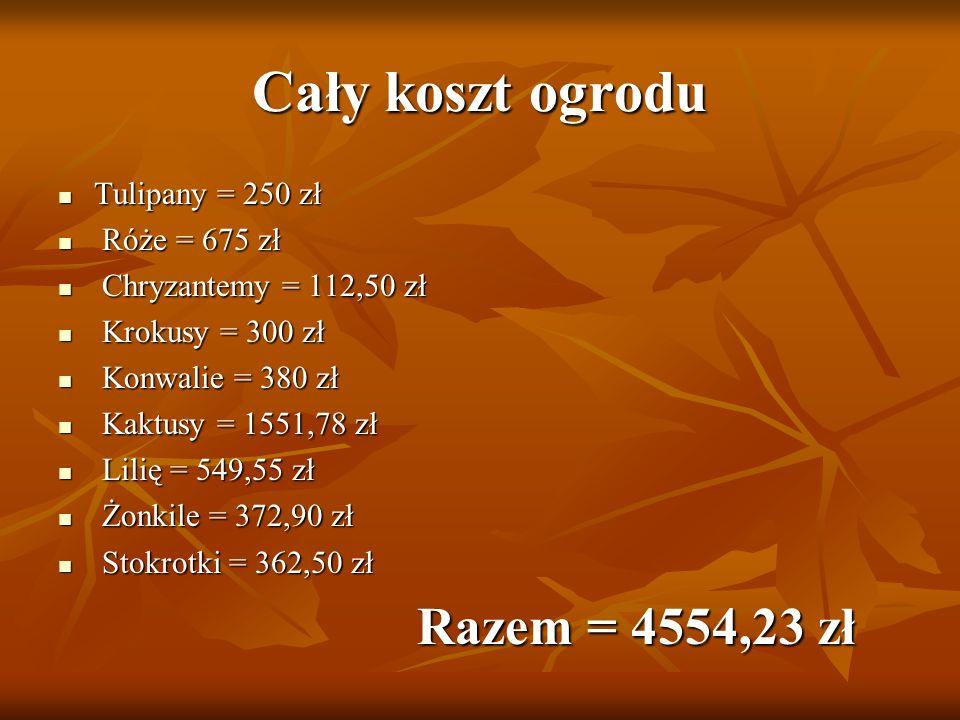 Cały koszt ogrodu Tulipany = 250 zł Tulipany = 250 zł Róże = 675 zł Róże = 675 zł Chryzantemy = 112,50 zł Chryzantemy = 112,50 zł Krokusy = 300 zł Kro