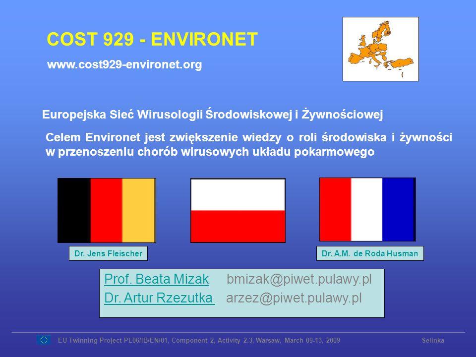 COST 929 - ENVIRONET Prof. Beata MizakProf. Beata Mizak bmizak@piwet.pulawy.pl Dr. Artur Rzezutka Dr. Artur Rzezutka arzez@piwet.pulawy.pl Celem Envir