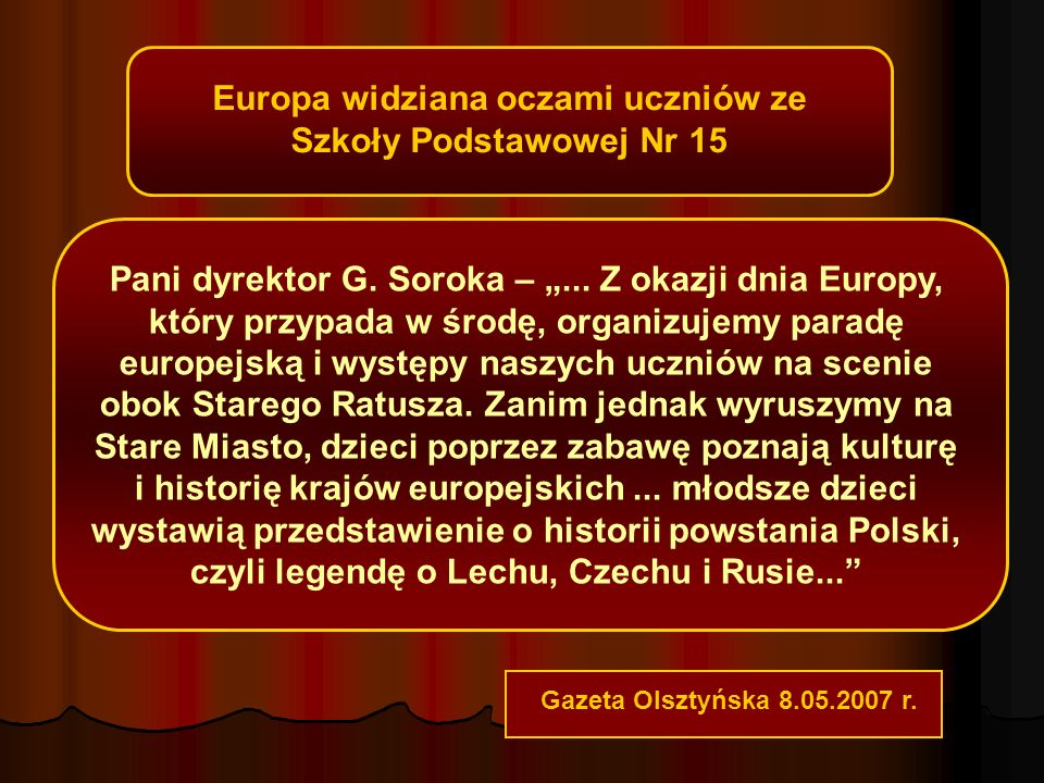 Europa widziana oczami uczniów ze Szkoły Podstawowej Nr 15 Pani dyrektor G.