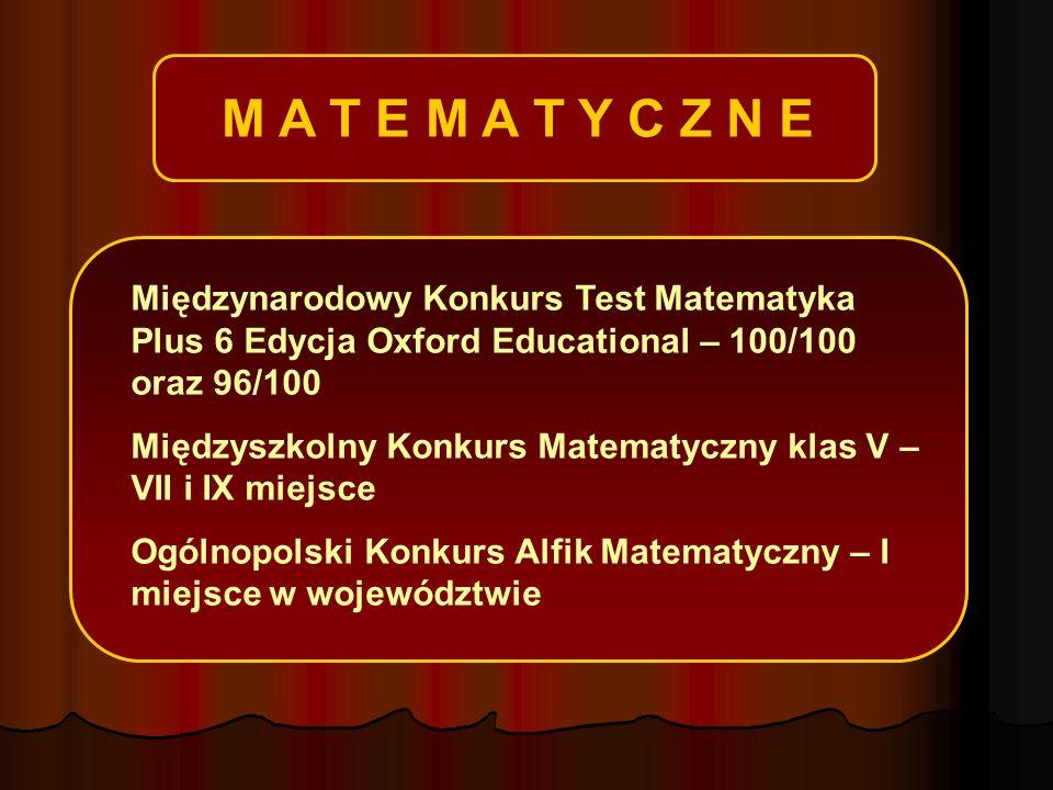 M A T E M A T Y C Z N E Międzynarodowy Konkurs Test Matematyka Plus 6 Edycja Oxford Educational – 100/100 oraz 96/100 Międzyszkolny Konkurs Matematyczny klas V – VII i IX miejsce Ogólnopolski Konkurs Alfik Matematyczny – I miejsce w województwie