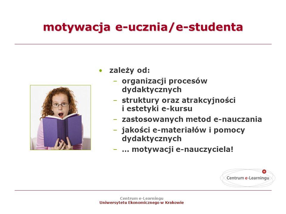 Centrum e-Learningu Uniwersytetu Ekonomicznego w Krakowie motywacja e-ucznia/e-studenta zależy od: –organizacji procesów dydaktycznych –struktury oraz atrakcyjności i estetyki e-kursu –zastosowanych metod e-nauczania –jakości e-materiałów i pomocy dydaktycznych –… motywacji e-nauczyciela!