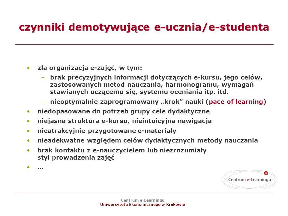 Centrum e-Learningu Uniwersytetu Ekonomicznego w Krakowie czynniki demotywujące e-ucznia/e-studenta zła organizacja e-zajęć, w tym: –brak precyzyjnych informacji dotyczących e-kursu, jego celów, zastosowanych metod nauczania, harmonogramu, wymagań stawianych uczącemu się, systemu oceniania itp.