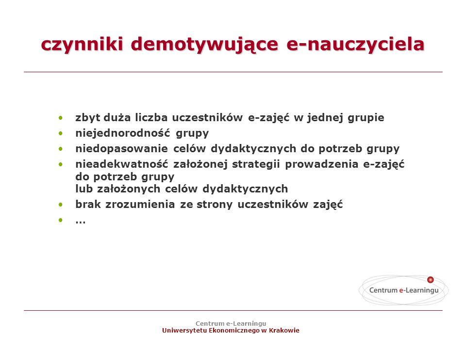 Centrum e-Learningu Uniwersytetu Ekonomicznego w Krakowie czynniki demotywujące e-nauczyciela zbyt duża liczba uczestników e-zajęć w jednej grupie niejednorodność grupy niedopasowanie celów dydaktycznych do potrzeb grupy nieadekwatność założonej strategii prowadzenia e-zajęć do potrzeb grupy lub założonych celów dydaktycznych brak zrozumienia ze strony uczestników zajęć …