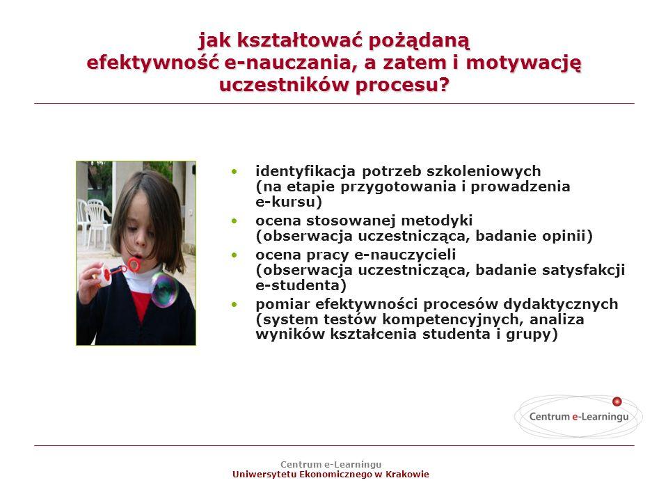 Centrum e-Learningu Uniwersytetu Ekonomicznego w Krakowie jak kształtować pożądaną efektywność e-nauczania, a zatem i motywację uczestników procesu.