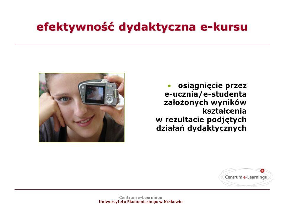 Centrum e-Learningu Uniwersytetu Ekonomicznego w Krakowie efektywność dydaktyczna e-kursu osiągnięcie przez e-ucznia/e-studenta założonych wyników kształcenia w rezultacie podjętych działań dydaktycznych