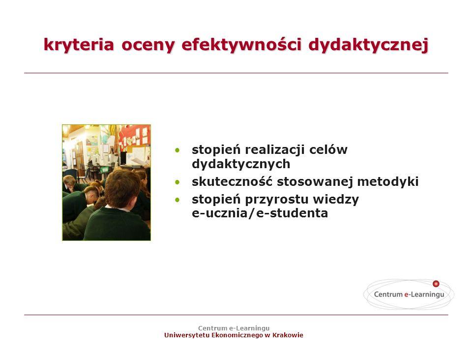 Centrum e-Learningu Uniwersytetu Ekonomicznego w Krakowie kryteria oceny efektywności dydaktycznej stopień realizacji celów dydaktycznych skuteczność stosowanej metodyki stopień przyrostu wiedzy e-ucznia/e-studenta