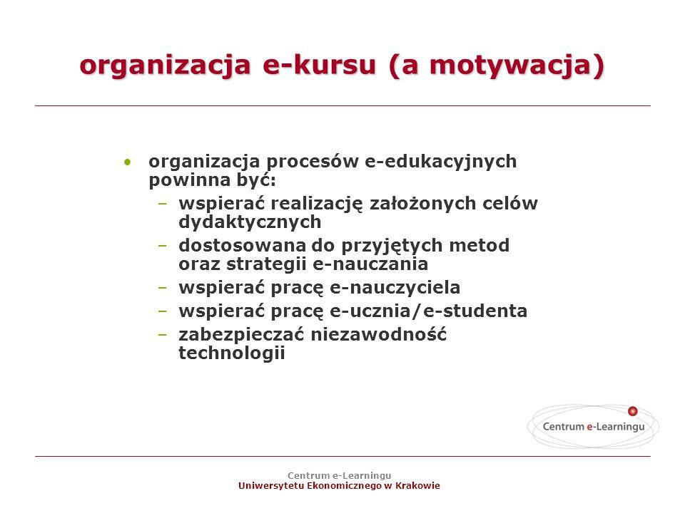 Centrum e-Learningu Uniwersytetu Ekonomicznego w Krakowie organizacja e-kursu (a motywacja) organizacja procesów e-edukacyjnych powinna być: –wspierać realizację założonych celów dydaktycznych –dostosowana do przyjętych metod oraz strategii e-nauczania –wspierać pracę e-nauczyciela –wspierać pracę e-ucznia/e-studenta –zabezpieczać niezawodność technologii