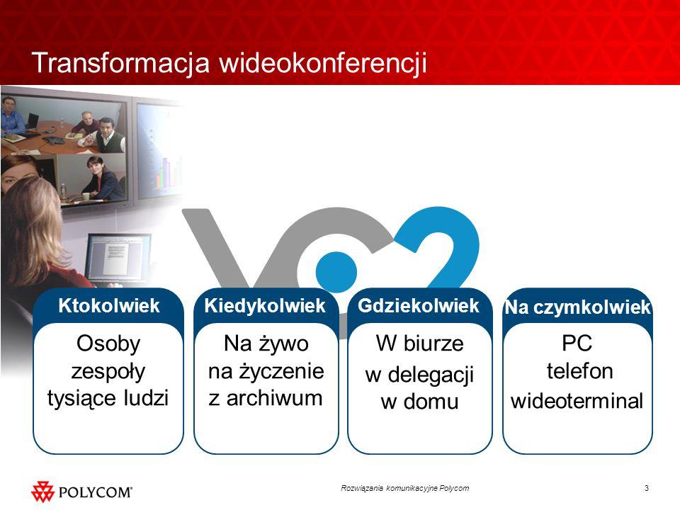 14Rozwiązania komunikacyjne Polycom Rozwiązania Room i Personal Telepresence Komunikacja wizualna HD Obraz Full HD 1080p Naturalny głos HD Współdzielenie treści HD Zgodność z innymi urządzeniami na rynku HDX 4000 HDX 8000 HDX 7000 HDX 9000 CMA Desktop Duży wybór modeli Terminale dla sal konferencyjnych, sal wykładowych i szkoleniowych Wybór stojaków i monitorów Polycom Terminale osobiste dla małych zespołów, użytkowników indywidualnych, telepracowników HDX 6000 VVX1500