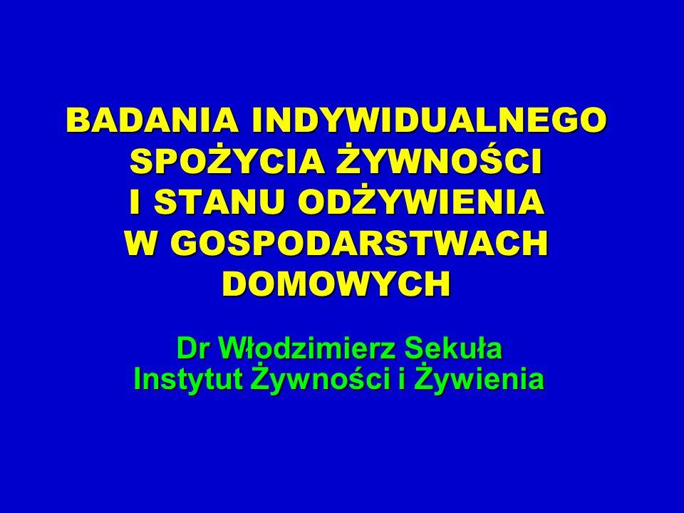 W 2000 roku zostały przeprowadzone pierwsze ogólnopolskie badania indywidualnego spożycia żywności.